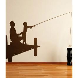 Apa a fiával horgászik falmatrica